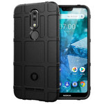 Anti-Shock Grid Texture Rugged Tough Case for Nokia 7.1 - Black